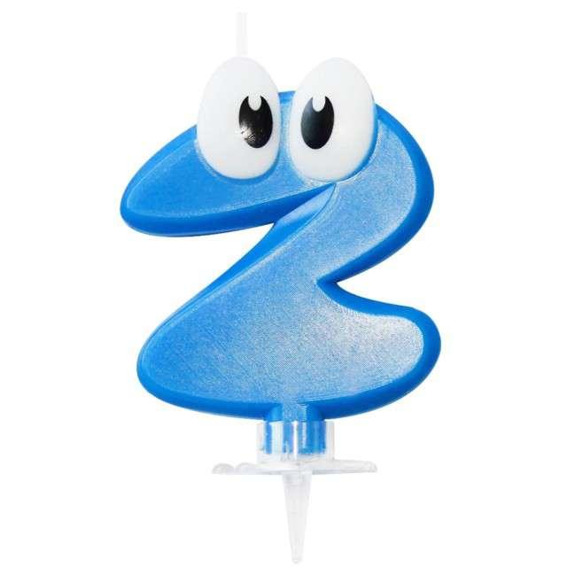 """Świeczka na tort """"2 niebieski ludek"""", Arpex, 8 cm"""