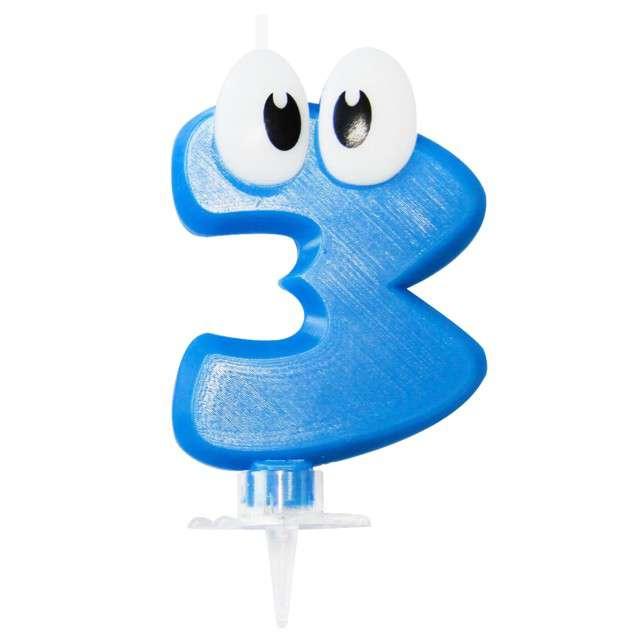 """Świeczka na tort """"3 niebieski ludek"""", Arpex, 8 cm"""