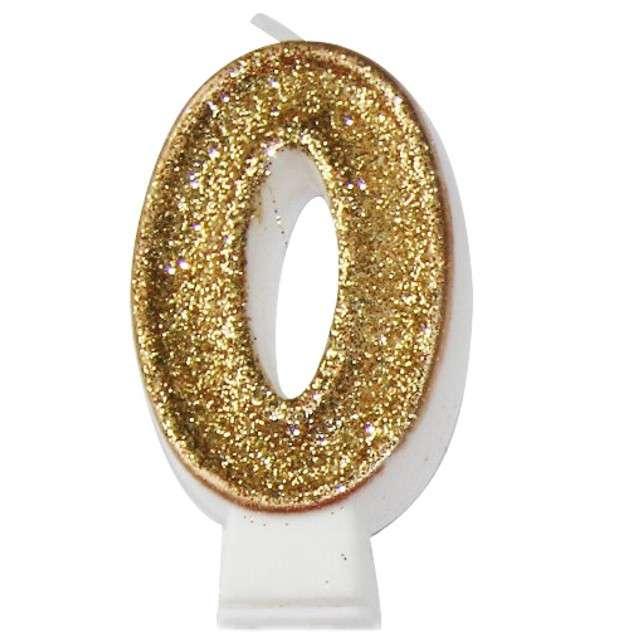 """Świeczka na tort """"0 złota z brokatem"""", Arpex, 7,5 cm"""