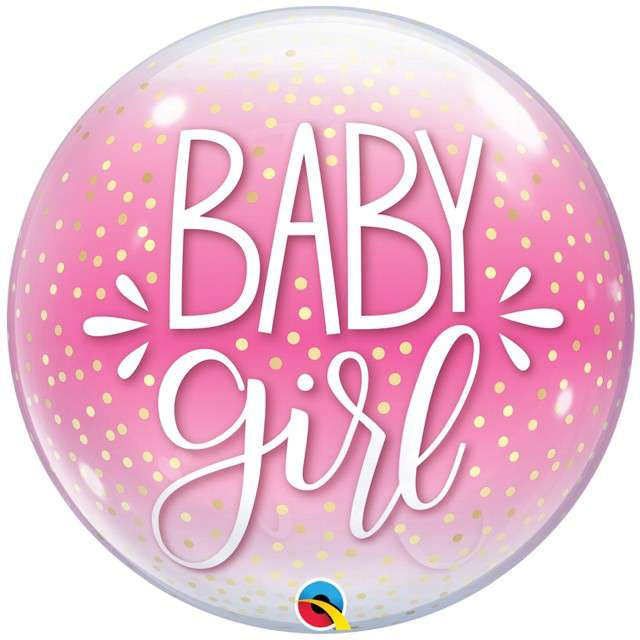 "Balon foliowy ""Baby girl"", różowy, Qualatex, 22"", RND"