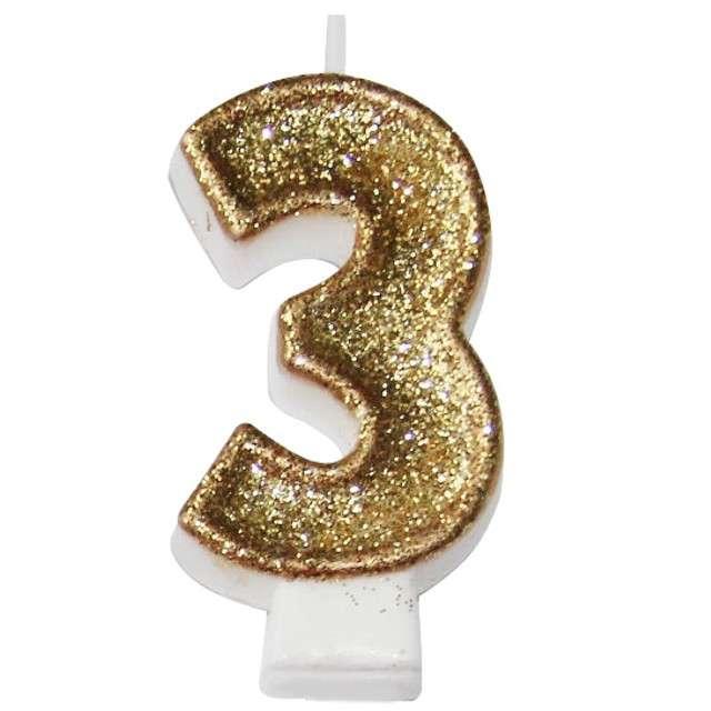 """Świeczka na tort """"3 złota z brokatem"""", Arpex, 7,5 cm"""