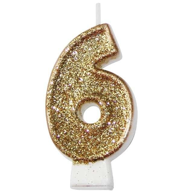 """Świeczka na tort """"6 złota z brokatem"""", Arpex, 7,5 cm"""