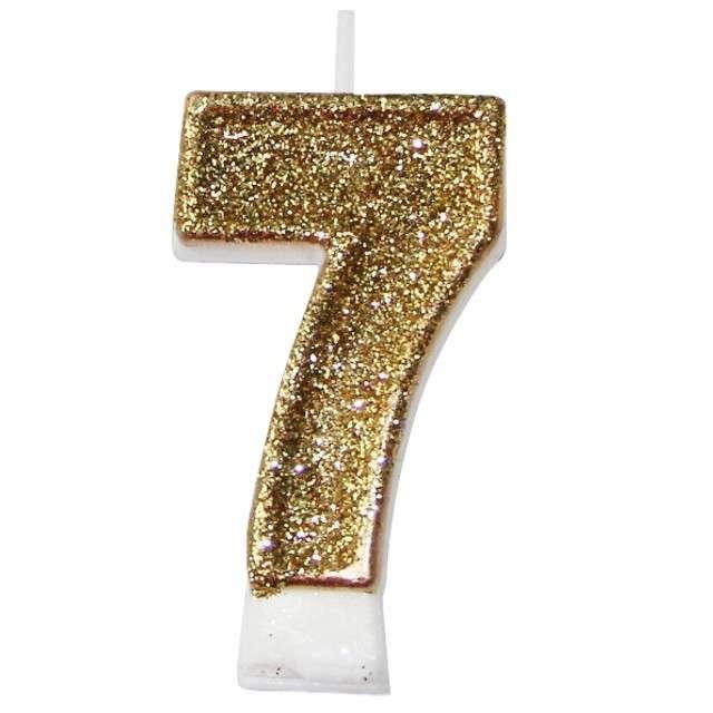 """Świeczka na tort """"7 złota z brokatem"""", Arpex, 7,5 cm"""