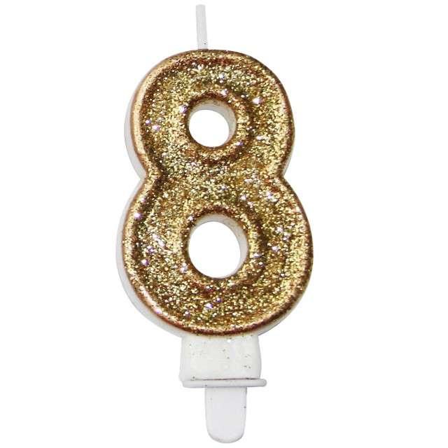 """Świeczka na tort """"8 złota z brokatem"""", Arpex, 7,5 cm"""