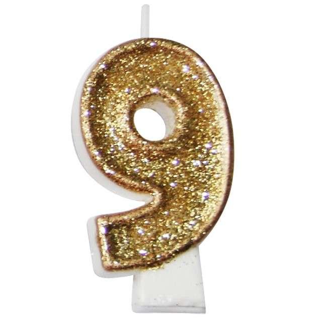 """Świeczka na tort """"9 złota z brokatem"""", Arpex, 7,5 cm"""