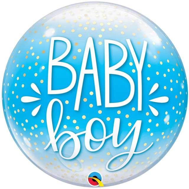 """Balon foliowy """"Baby boy"""", niebieski, Qualatex, 22"""", RND"""