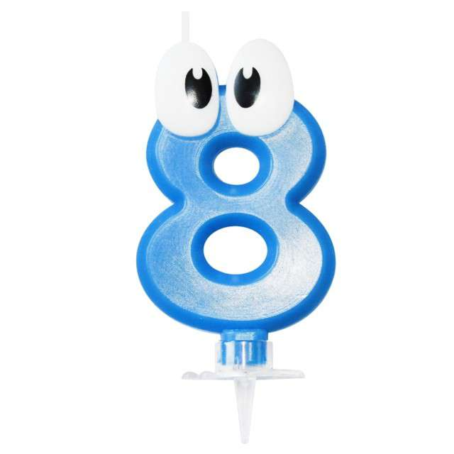 """Świeczka na tort """"8 niebieski ludek"""", Arpex, 8 cm"""