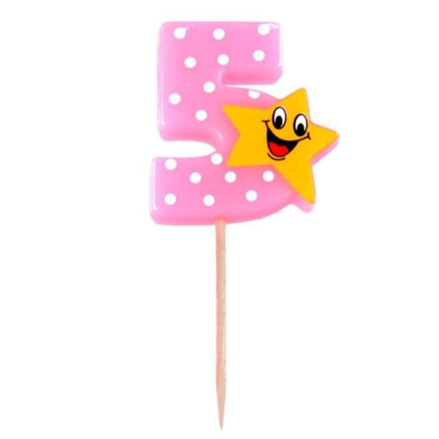 """Świeczka na tort """"5 z gwiazdką"""", różowa, Arpex"""