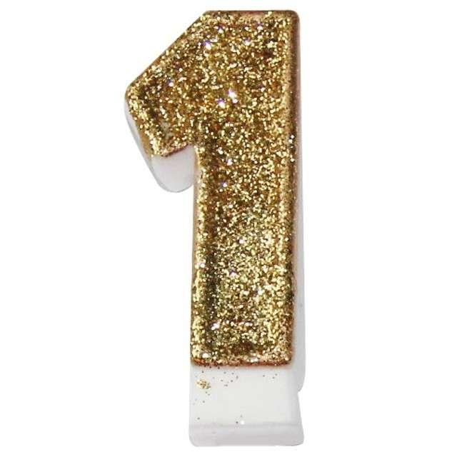 """Świeczka na tort """"1 złota z brokatem"""", Arpex, 7,5 cm"""