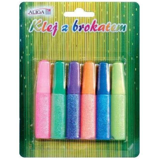 "Klej z brokatem ""Zestaw DIY Neon"", 6 ml, 6 szt, Aliga"