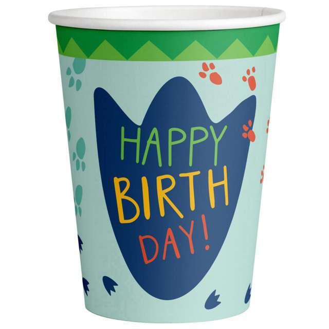 """Kubeczki papierowe """"Happy Birthday - Dinozaur"""", Amscan, 250 ml, 8 szt"""