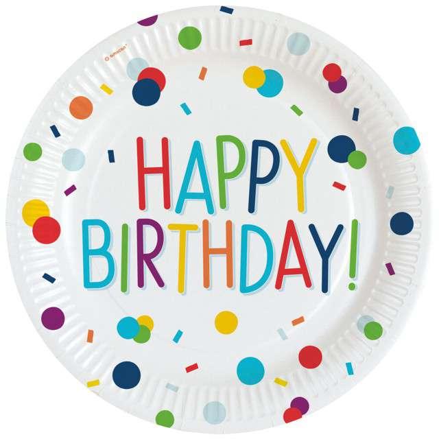 """Talerzyki papierowe """"Happy Birthday - Konfetti"""",Amscan, 23 cm, 8 szt"""