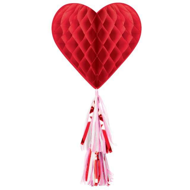 """Dekoracja """"Serce bibułowe"""", czerwone, Amscan"""