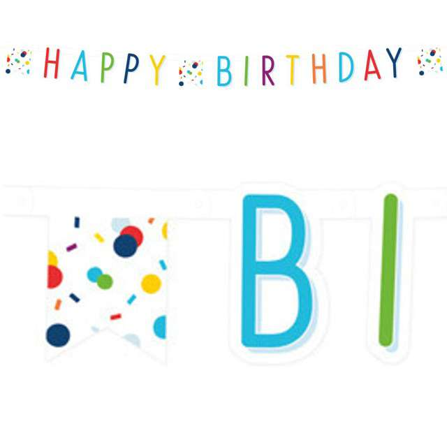 "Baner ""Happy Birthday - Konfetti"", Amscan, 180cm"