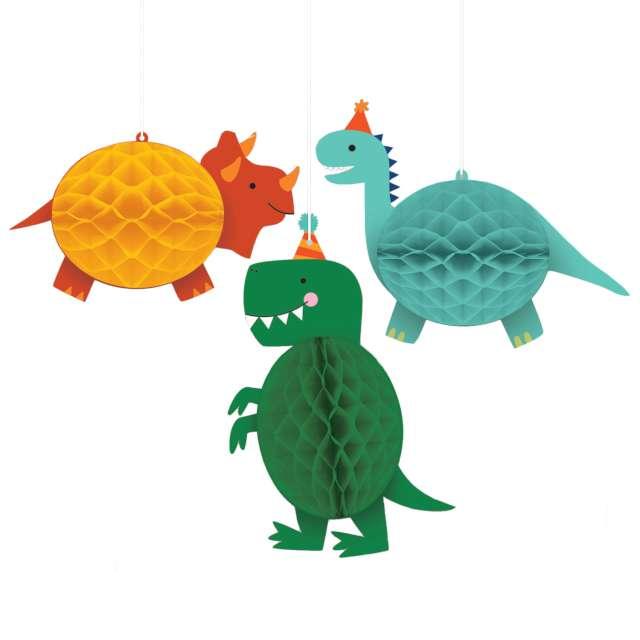 """Dekoracja """"Honeycomb - Dinozaury"""", Amscan, 3 szt"""