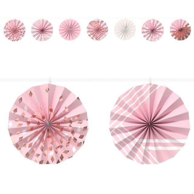 """Girlanda bibułowa """"Rozety"""", różowo-złote, Amscan, 365 cm"""