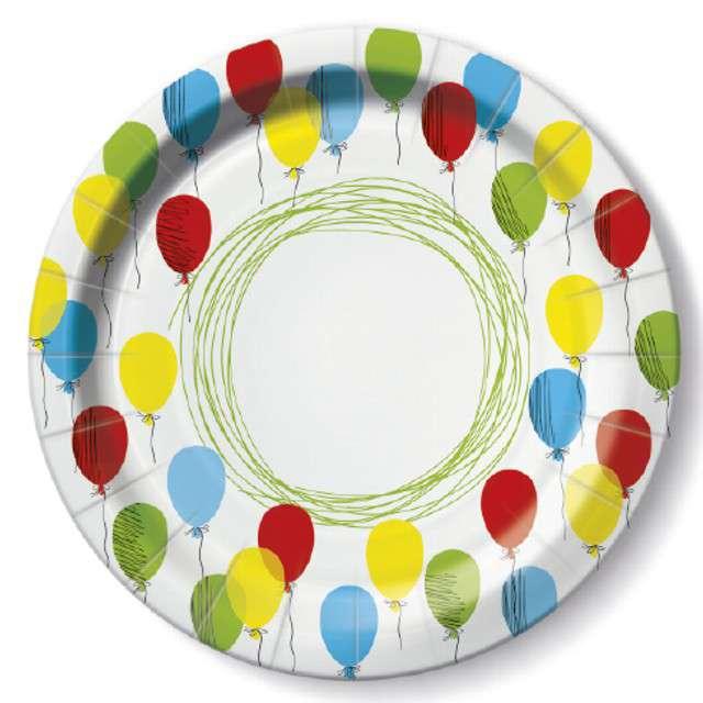 """Talerzyki papierowe """"Balony kolorowe"""", PAW, 23 cm, 10 szt"""