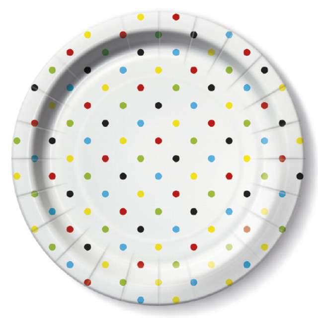"""Talerzyki papierowe """"Kropki kolorowe"""", PAW, 23 cm, 10 szt"""