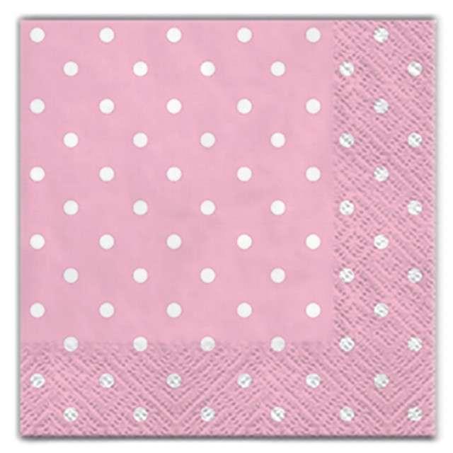 """Serwetki """"Kropki"""", różowe, PAW, 25 cm, 20 szt."""