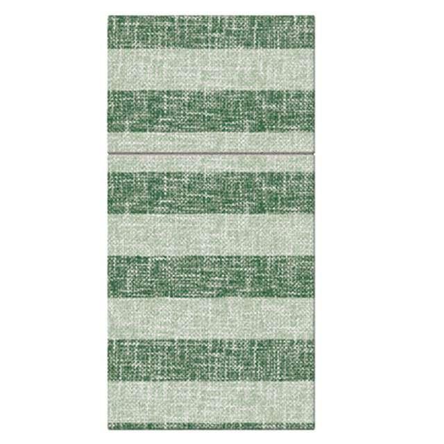 """Kieszonka na sztućce """"Airlaid paski"""", zielone, PAW, 40 cm, 25 szt."""