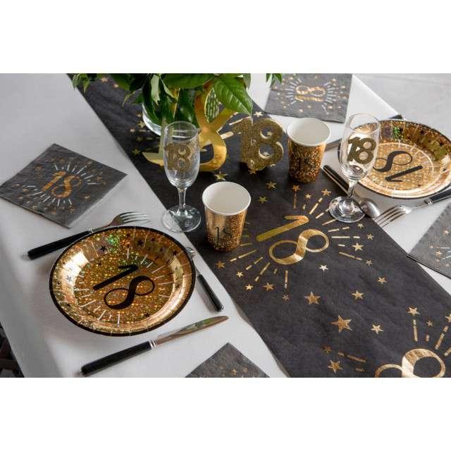 Kubeczki papierowe 50 urodziny - Holo Gold SANTEX 250 ml 10 szt