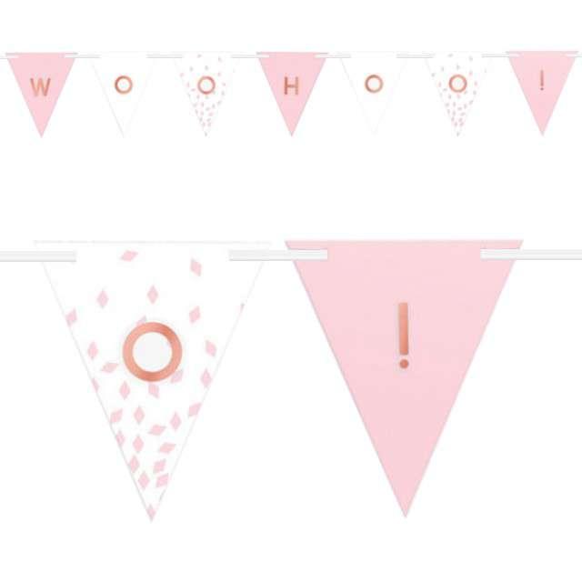 """Baner flagi """"Woo Hoo!"""", różowo-biały, Amscan, 365 cm"""