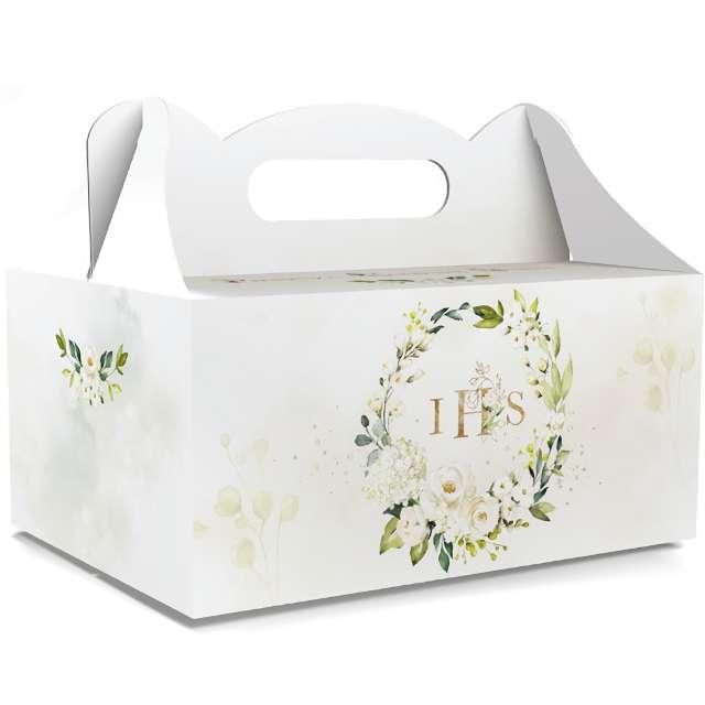 """Pudełko na ciasto """"Pierwsza Komunia Święta IHS - Classic"""", białe, Toledo, 5 szt"""