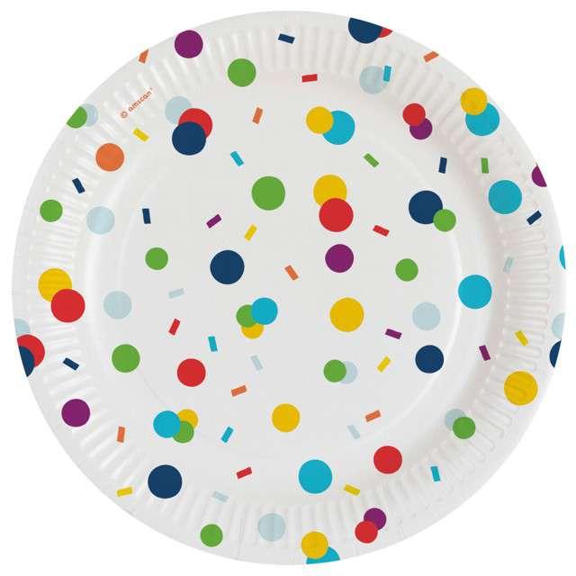 """Talerzyki papierowe """"Konfetti"""", Amscan, 18 cm, 8 szt"""