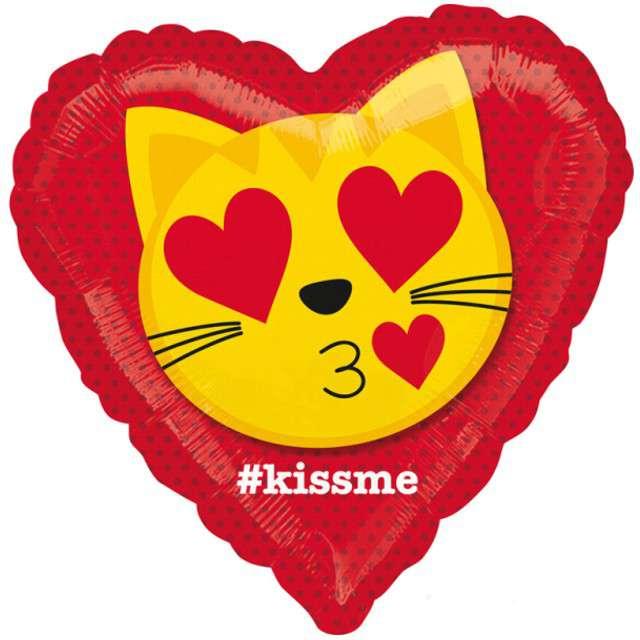 _xx_Balon foliowy 18 cali HRT Emotikon - Całujący Kotek zapakowany