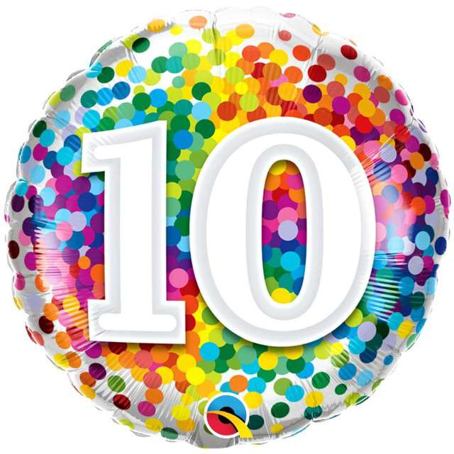"Balon foliowy ""Tęczowe konfetti 10"", Qualatex, 18"", RND"