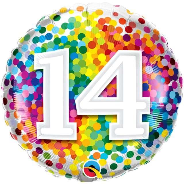 "Balon foliowy ""Tęczowe konfetti 14"", Qualatex, 18"", RND"