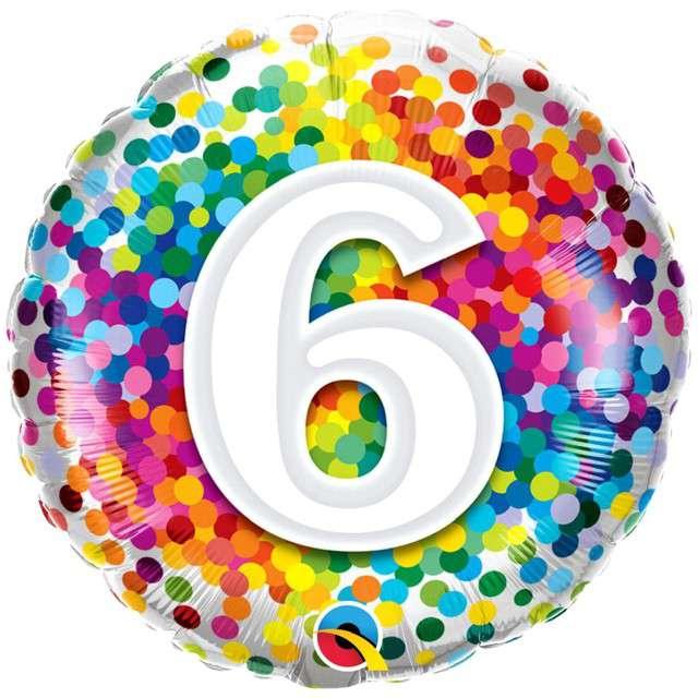 "Balon foliowy ""Tęczowe konfetti 6"", Qualatex, 18"", RND"
