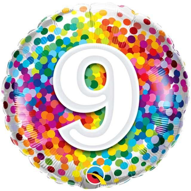"""Balon foliowy """"Tęczowe konfetti 9"""", Qualtex, 18"""", RND"""