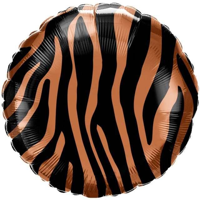 Balon foliowy Futro Pręgi Tygrysa czarny Qualtex 18 RND