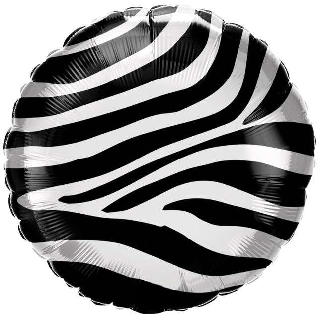 """Balon foliowy """"Zebra Deco"""", czarny, Qualtex, 18"""", RND"""