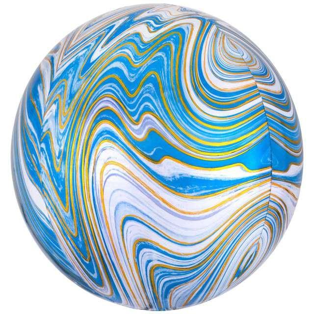 "Balon foliowy ""Kula Marmurek"", niebieski, Amscan, 15"", ORB"