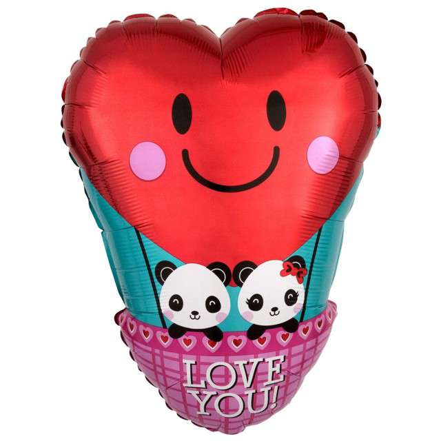 "Balon foliowy ""Love you - balon z pandami"", Godan, 33x43 cm, SHP"