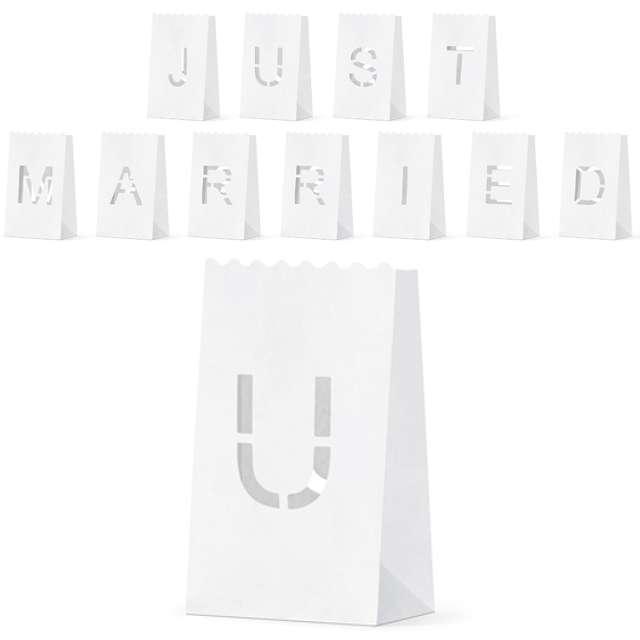 """Lampion torebka na świece """"Just Married"""" , 11.5x19x7cm, PartyDeco, 11 szt"""