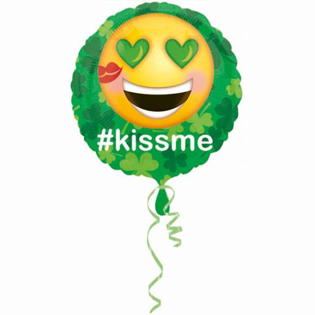 _yy__xx_Standard St.Pats Kiss Me Emoticon Foil Balloon Round S40 packed 43 cm