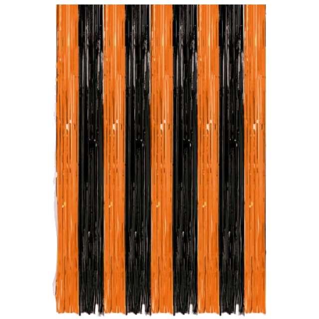 """Kurtyna na drzwi """"Classic"""", czarno-pomarańczowa, Amscan, 243 x 91 cm"""