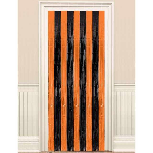 Kurtyna na drzwi Classic czarno-pomarańczowa Amscan 243 x 91 cm