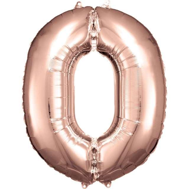 """Balon foliowy """"Cyfra 0"""", różowo-złoty, Amscan, 34"""""""