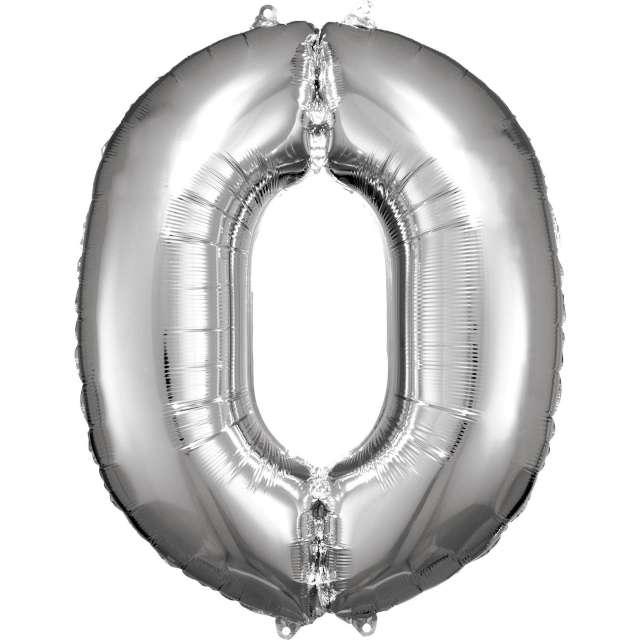Balon foliowy Cyfra 0 srebrny Amscan 34