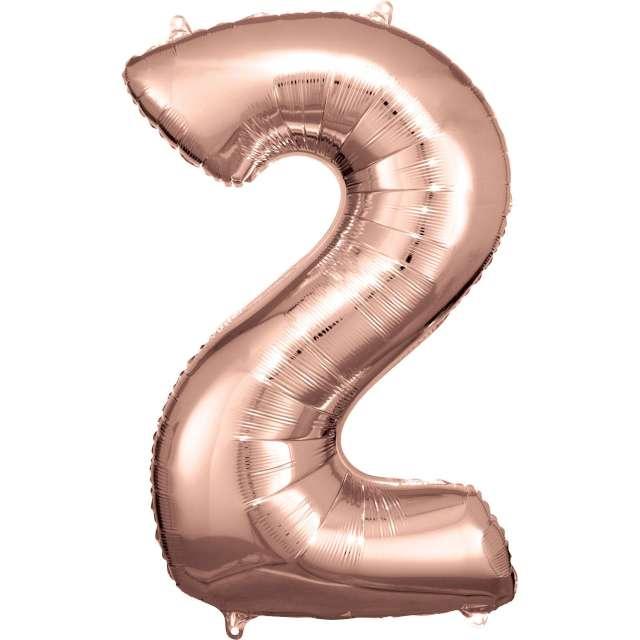 """Balon foliowy """"Cyfra 2"""", różowo-złoty, Amscan, 34"""""""
