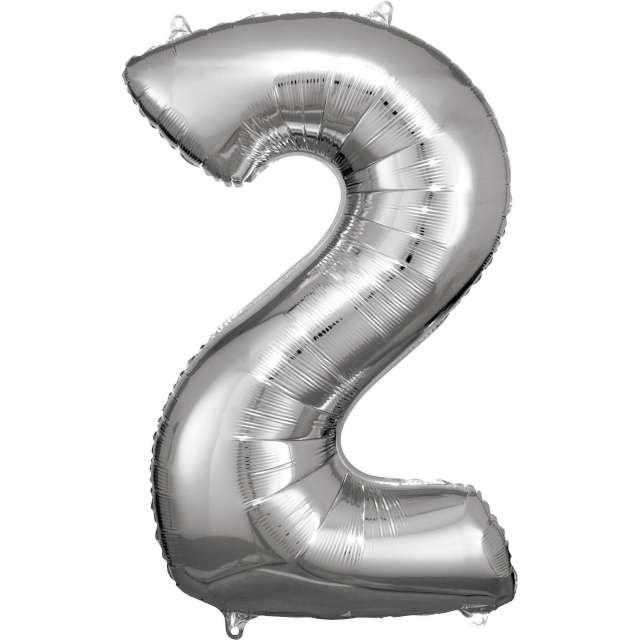 """Balon foliowy """"Cyfra 2"""", srebrny, Amscan, 34"""""""