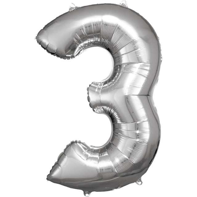 """Balon foliowy """"Cyfra 3"""", srebrny, Amscan, 34"""""""