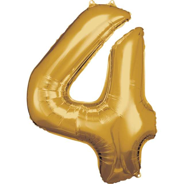 """Balon foliowy """"Cyfra 4"""" , złoty, Amscan, 34"""""""
