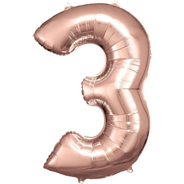 """Balon foliowy """"Cyfra 3"""", różowo-złoty, Amscan, 34"""""""