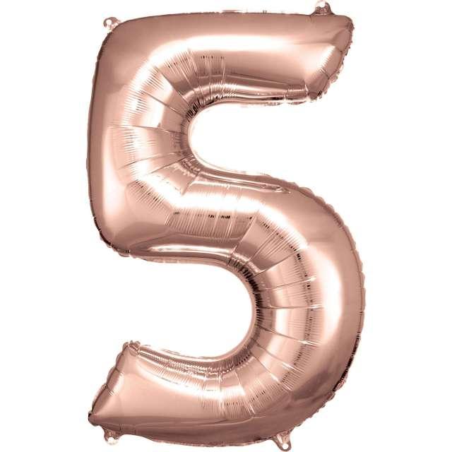 """Balon foliowy """"Cyfra 5"""", różowo-złoty, Amscan, 34"""""""