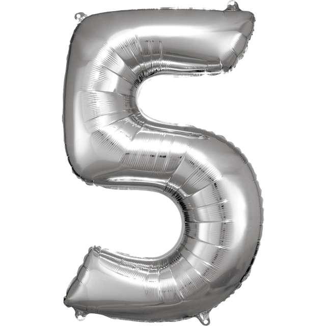 """Balon foliowy """"Cyfra 5"""", srebrny, Amscan, 34"""""""